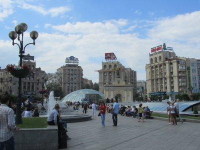 downtown, in the Maydan Nezalezhnosti plaza