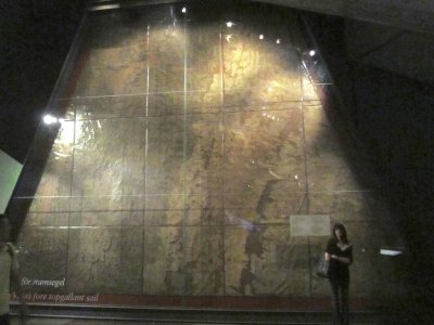 heres one of the spare sails recovered from inside the ship...
