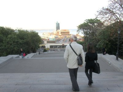 Marla with friend and guide Alex at the top of the Potemkin Stairs