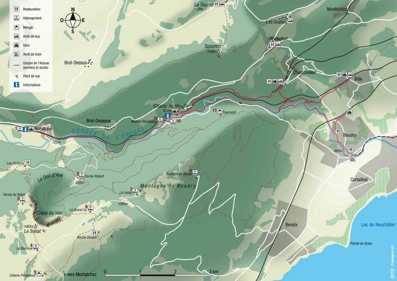 Carte des Gorges de lAreuse