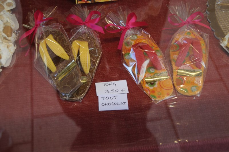 Chocolate sweets that look like flip flops, Beaune, France
