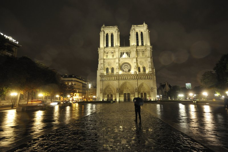 Notre Dame cathedral in the rain, Paris