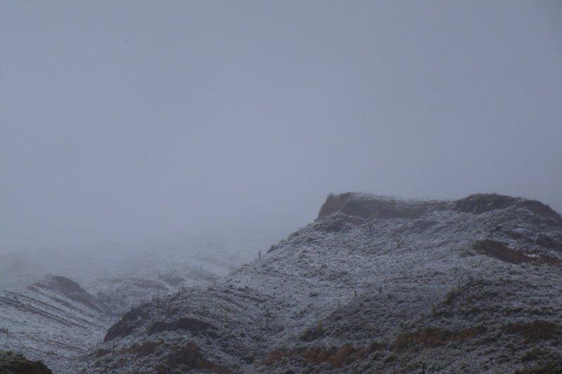 Snow on mountains north of Superior, AZ