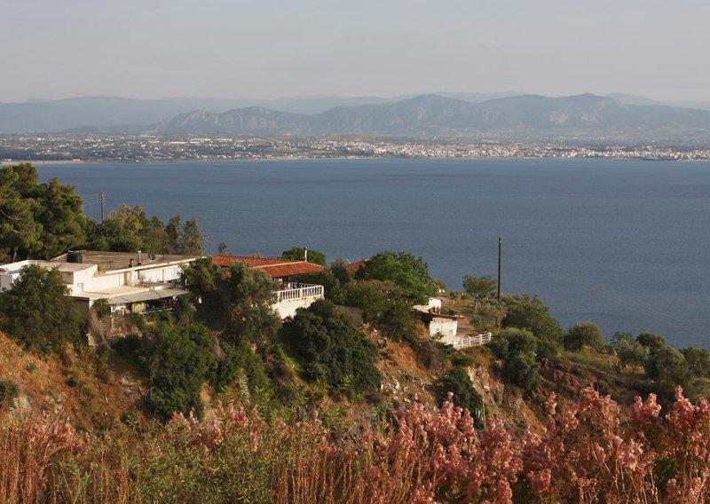 opposite the coastline around Corinth