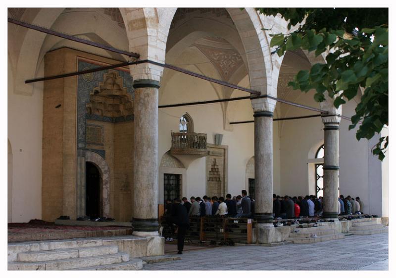 Midday-prayer in Gazi Husref-Bey mosque