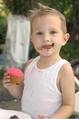 Nick after Chocolate Fountain and Cupcakes