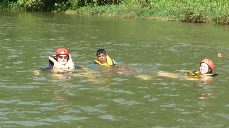 We wound up in the Kitulgala River after our raft tipped over.