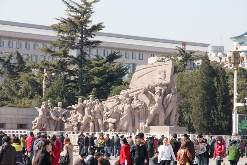 Revolutionary workers statue which stands in front of Maos mausoleum in Tiananmen Square.