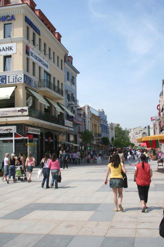 Women walking in the main square towards Plovdivs Main Street.