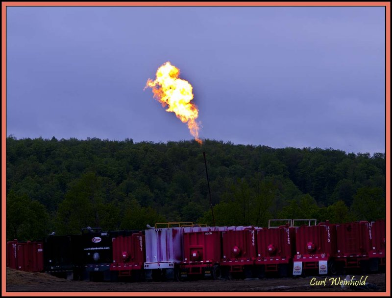 Flaring a gas well by PennVirginia.