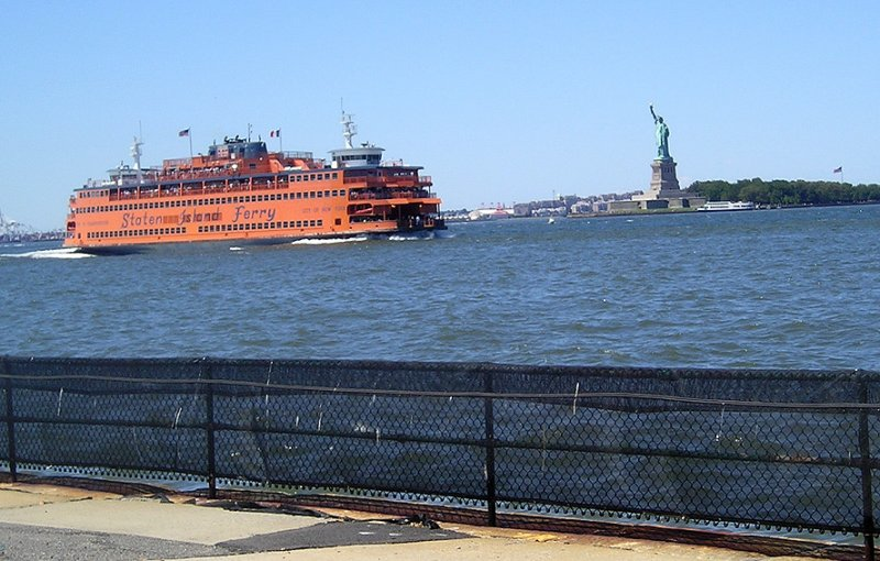 Ferry and statue