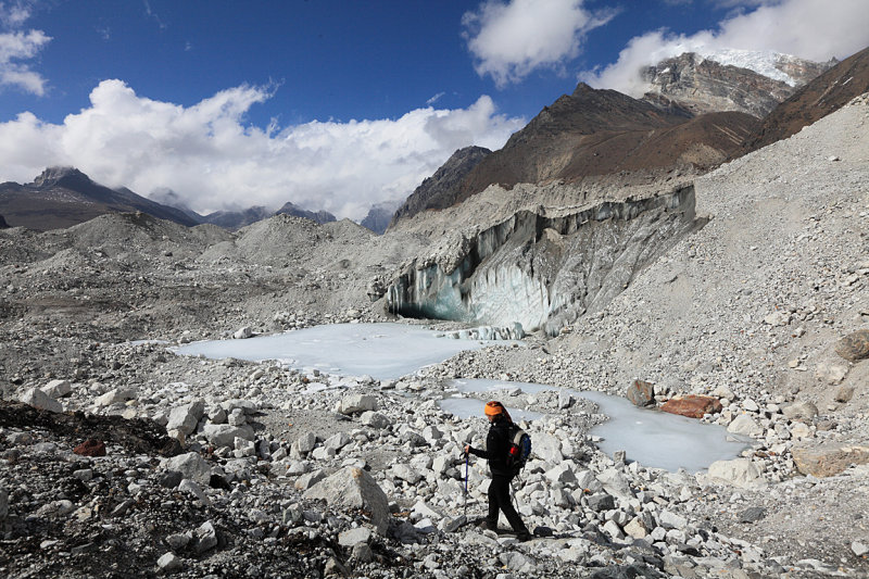 Crossing the Ngozumba Glacier to Gokyo