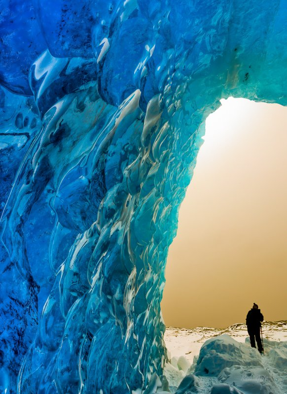 Explorer inside an icecave  Mendenhall Lake-.jpg