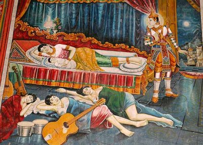 Buddha´s leaving his home, in which there are many modern instruments. Cambodia