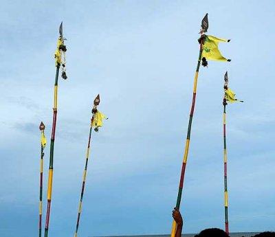 Lord Subramanyam´s [Murugan`s] spears. Skanda Sashti at Tiruchendur.