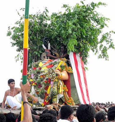The demon Gajamukha has been beheaded. Skanda Sashti at Tiruchendur.