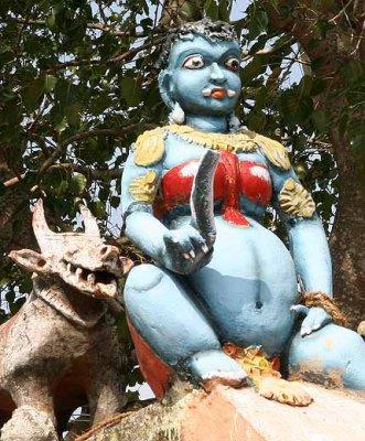 Pregnant goddess on the roof of a Kaliamman temple, Tamil Nadu. http://www.blurb.com/books/3782738