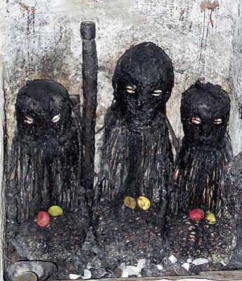 Fetishes at the shrine in Ejisu Besease.