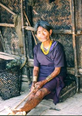 Old Naga lady with tattoos