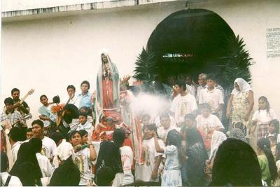 Mother Mary in a  procession in Guatemala