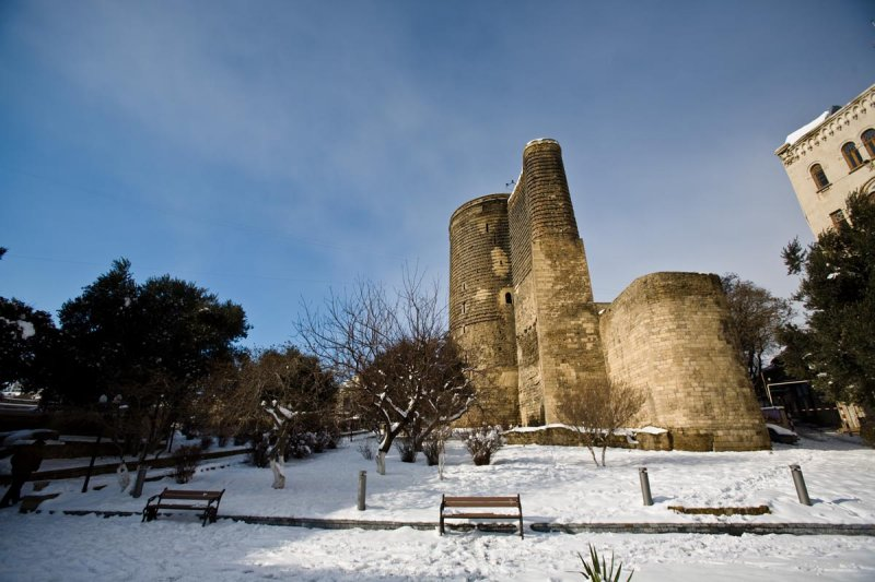 Maidens Tower in the snow