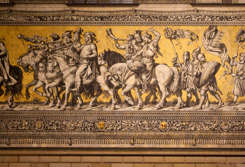 Detail of The Procession of Princes.  This is made up of 25,000 Meissen porcelain tiles.
