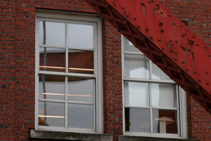 window and steel beam