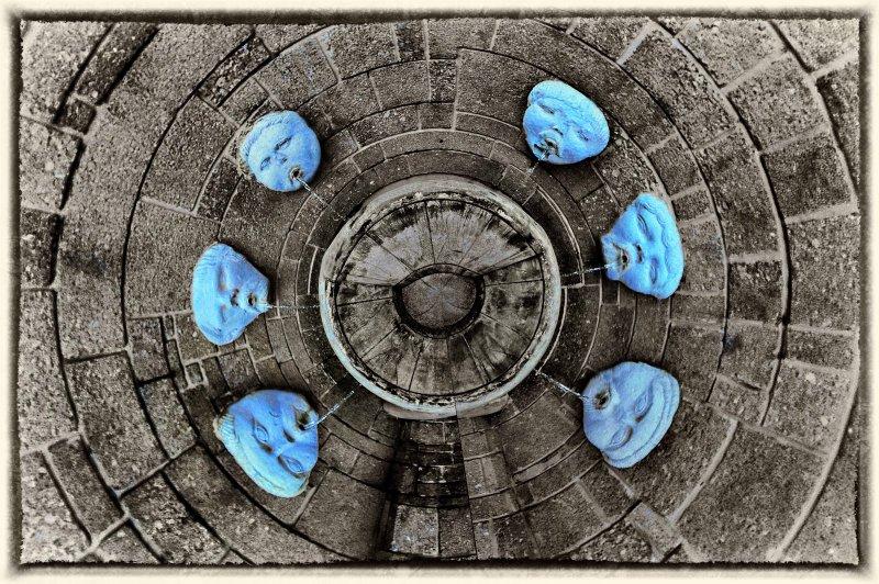 6 blue heads