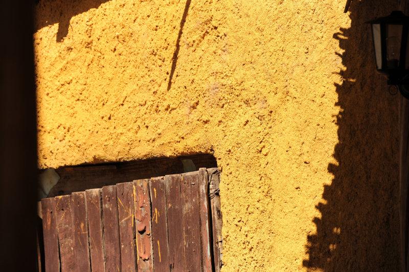 Yellow wall.