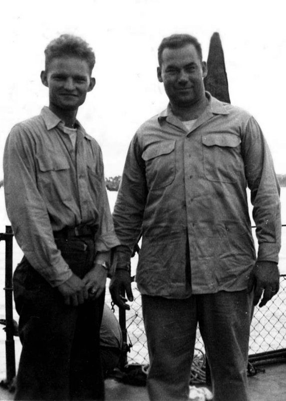 USS Bassett - Two men standing on deck (5)