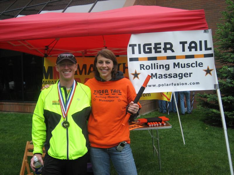 Tony & Spring with her Rolling Muscle Massager (www.polarfusion.com)