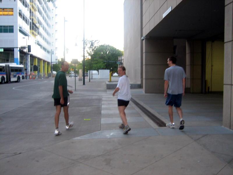 Friday morning run to the start of the ACSM 5k - Jeff Lynn, Lisa Butler, Clinton