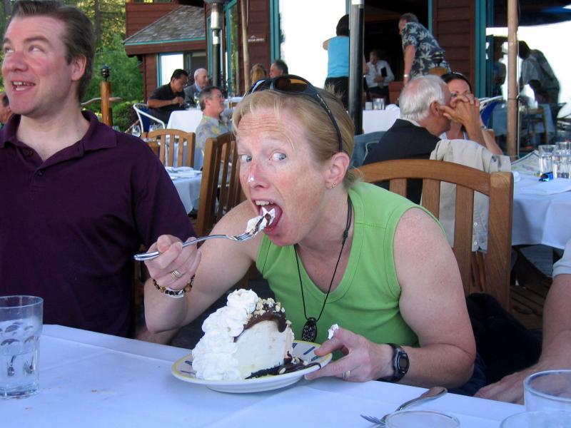 Mary eats for the camera