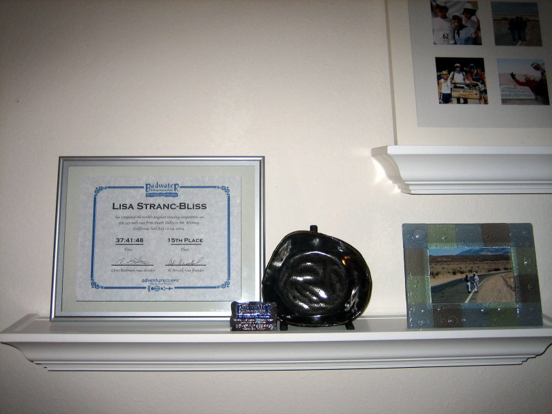My Badwater shrine with a pottery gift from Tracy Thomas