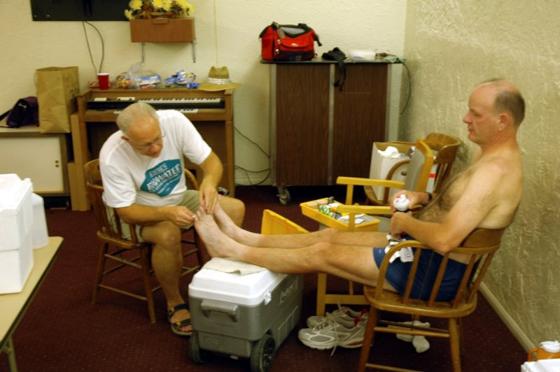 John Vonhof treats Bill LaDieu at Stovepipe Wells
