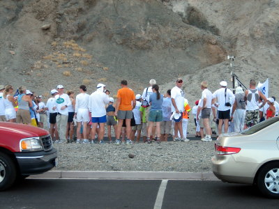 8 am start group gathers.  its 103 F/39 C with 22% humidity
