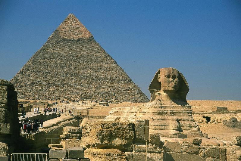 The traditional photo of the Pyramid and the Sphinx