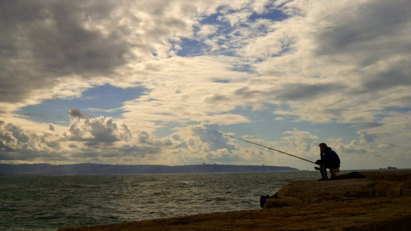 Fisherman, Acre, Israel, 2011