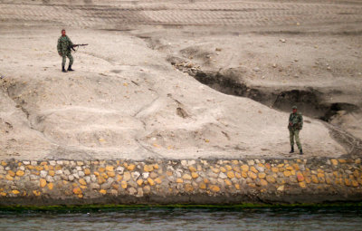 Soldiers along the Suez Canal, Egypt, 2011