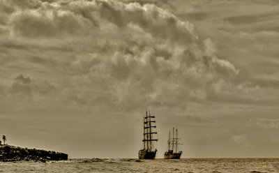 Tall ships off Santa Fe Island, The Galapagos, Ecuador, 2012