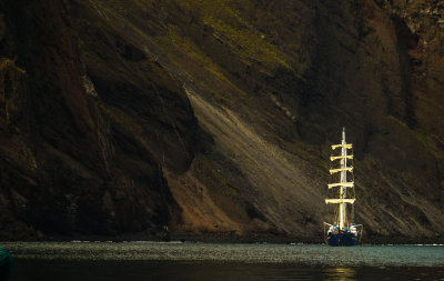 Tall ship at Punta Vincente Roca, Isabela Island, The Galapagos, Ecuador, 2012