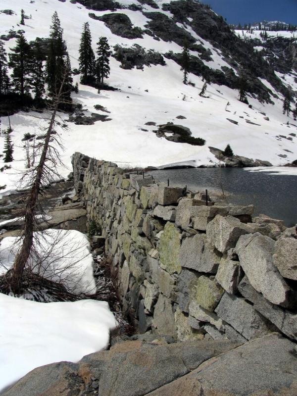 Emerald Lake outlet stone dam from the 1800s