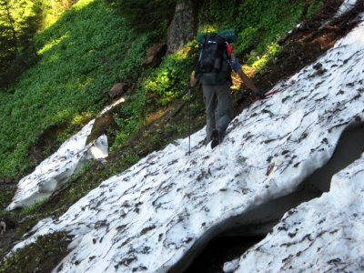 Steep snowfield in Fire Creek basin