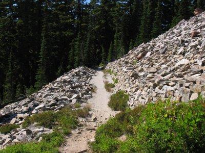 Rock walled trail