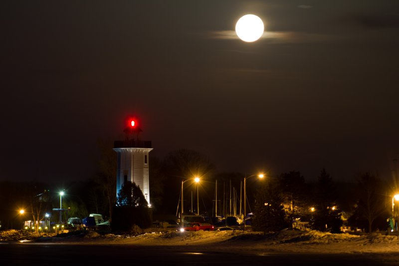 Full moon and Fond du Lac Lighthouse