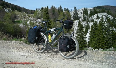 377    Sean touring Croatia - Specialized Rockhopper touring bike