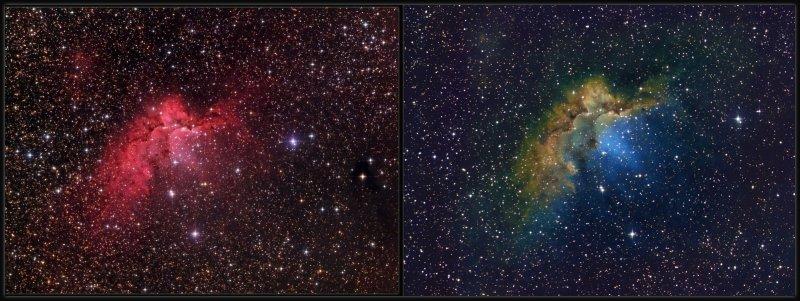 Wizard nebula - side by side