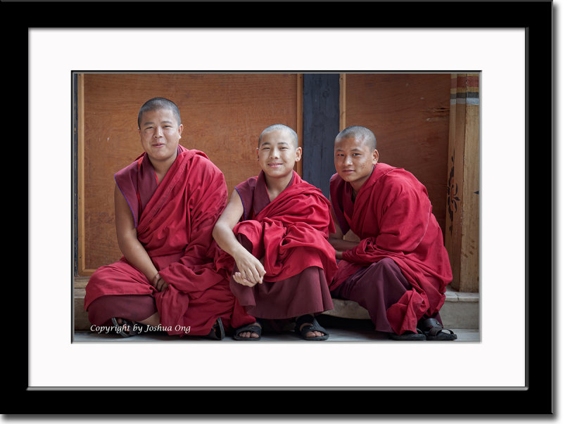 Three Young Monks at Trashichhoe Dzong