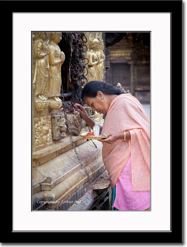 A Worshipper at Swayambhunath Temple