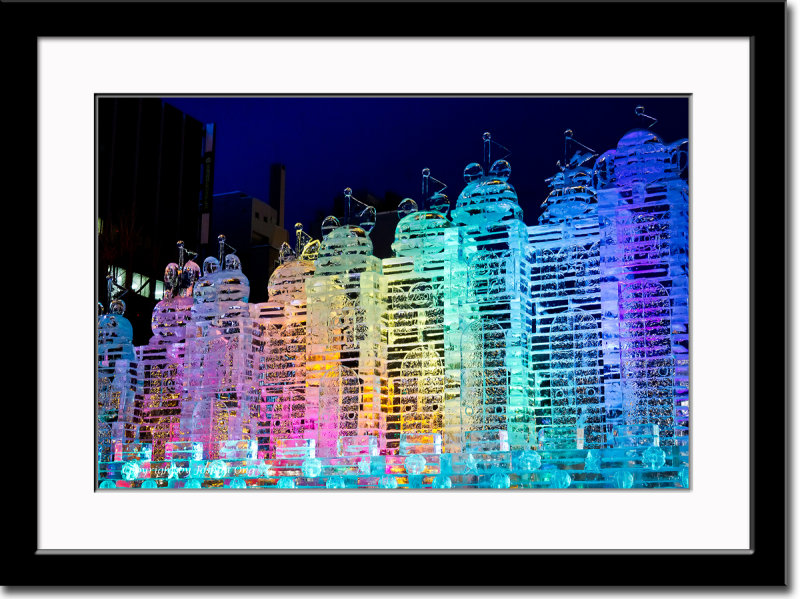 Colorfully Lit Ice Carving